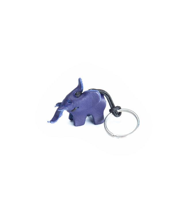 Leren sleutelhanger olifant, small - blauw