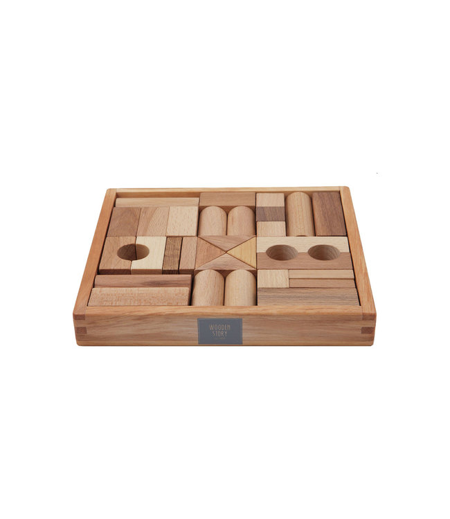 Wooden Story Natural blocks in tray 30 pcs