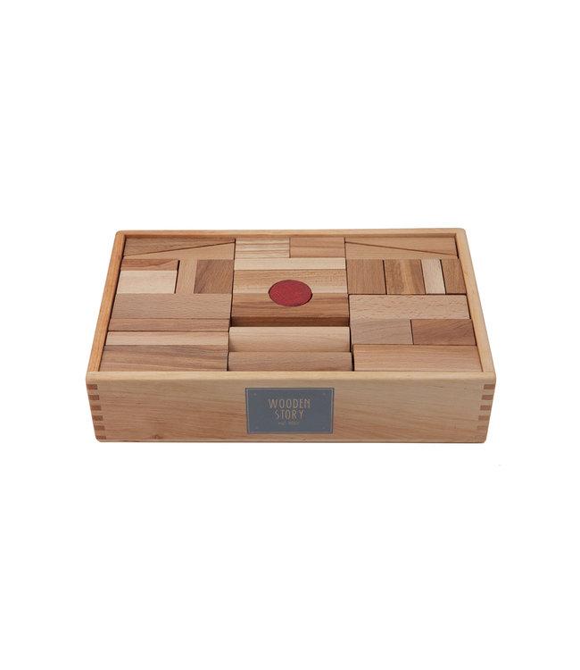 Wooden Story Houten blokken in bewaardoos 63 stuks