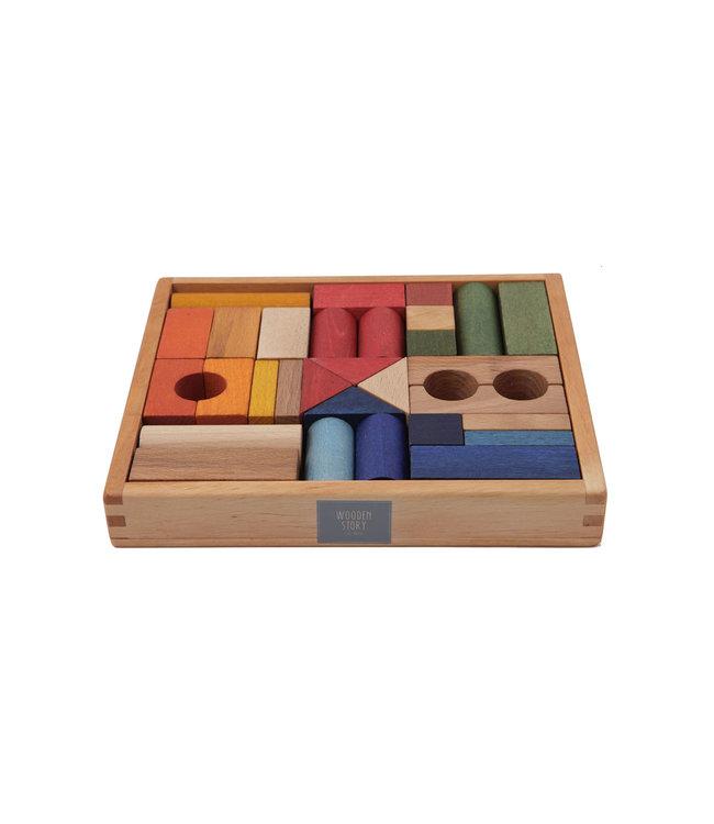 Wooden Story Gekleurde houten blokken in bewaardoos 30 stuks