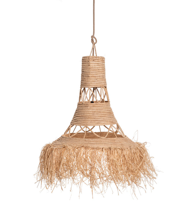 Couleur Locale Raphia hanging lamp with fringes  #1