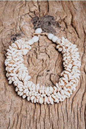 Oude kauri schelp halsketting - Madagascar