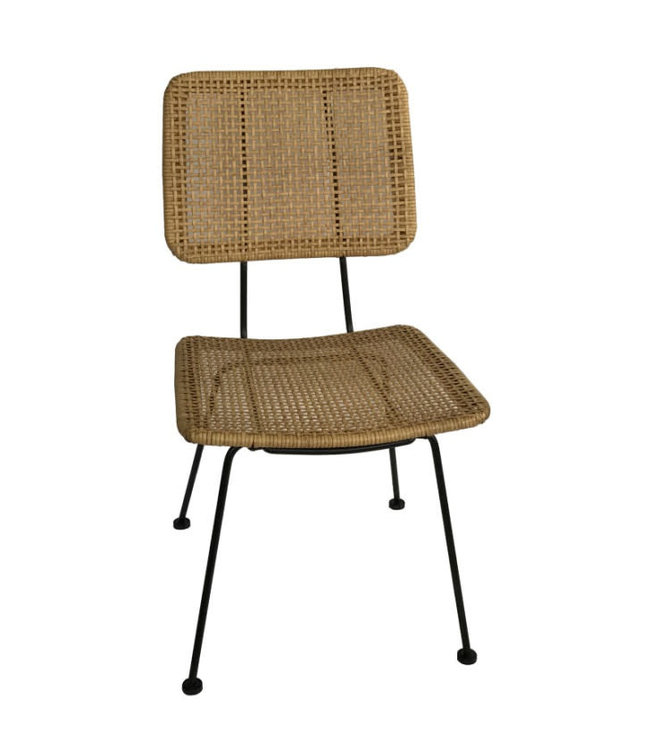 Chair black steel/natural PE wicker  2-parts
