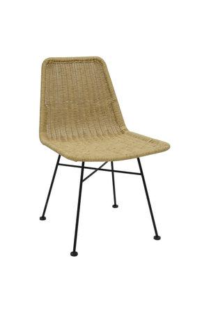 Chair black steel/natural PE wicker L-shape