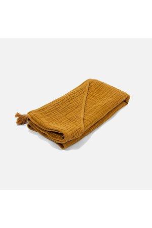 Sybel baby hooded towel in muslin - mustard