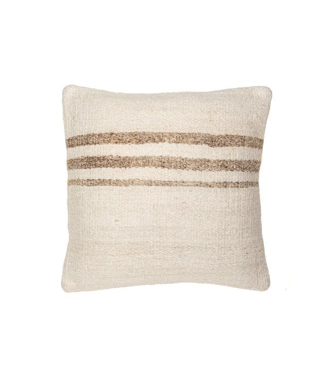 Kilim cushion - ecru with beige stripes - Turkey