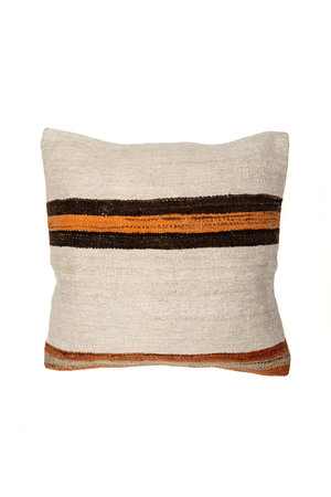 Kilim cushion - ecru with orange/brown stripes - Turkey