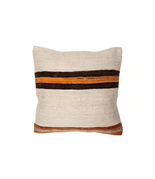 Kilim cushion - ecru with orange/brown stripes - Turkey