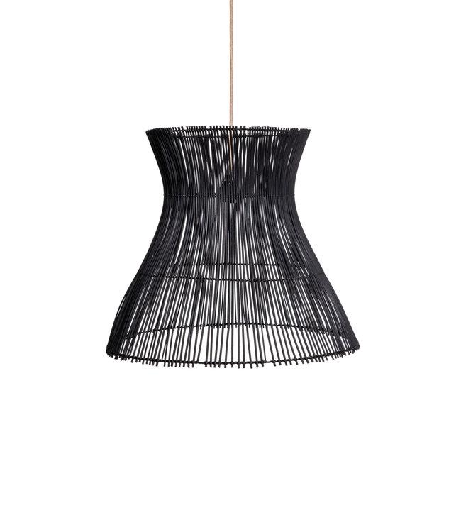 Rattan hanging lamp 'Halo' S - black