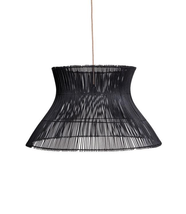 Rattan hanging lamp 'Halo' - black