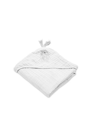 Sybel baby hooded towel in muslin - lapin blanc