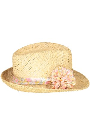 Obi Obi Pompom straw hat - lemon yellow