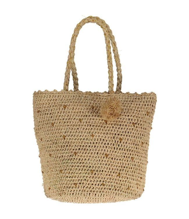Raffia crochet basket bag L