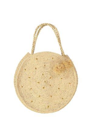 Obi Obi Round  raffia crochet basket bag L