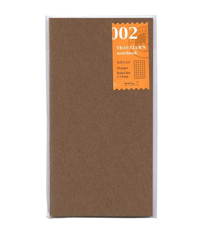Traveler's notebook - 002. geruite navulling 64 blz