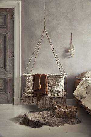 Boho baby hanging bassinet