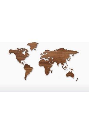 Wooden Amsterdam Wooden world map - walnut
