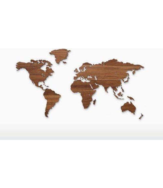 Wooden world map - walnut