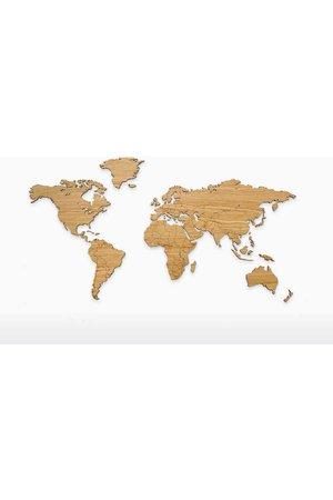 Wooden Amsterdam Wooden world map - oak