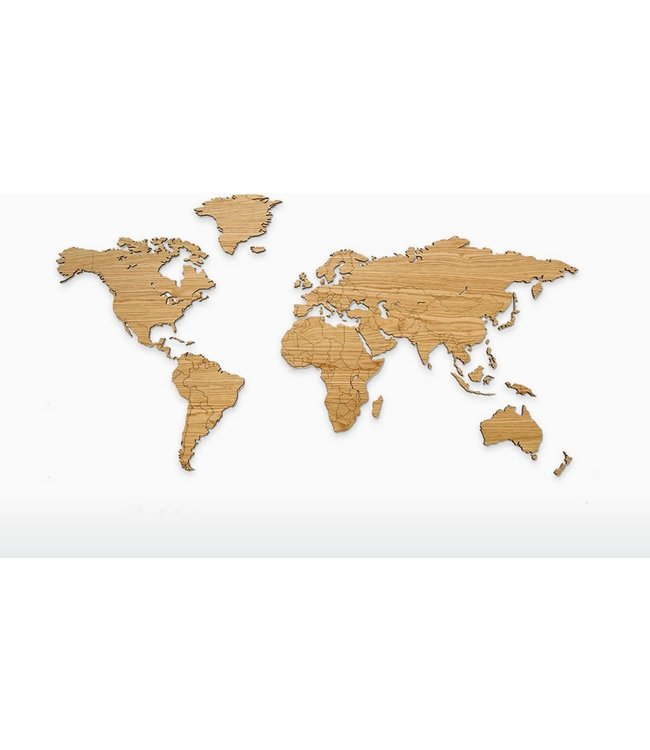 Houten wereldkaart - eikenhout