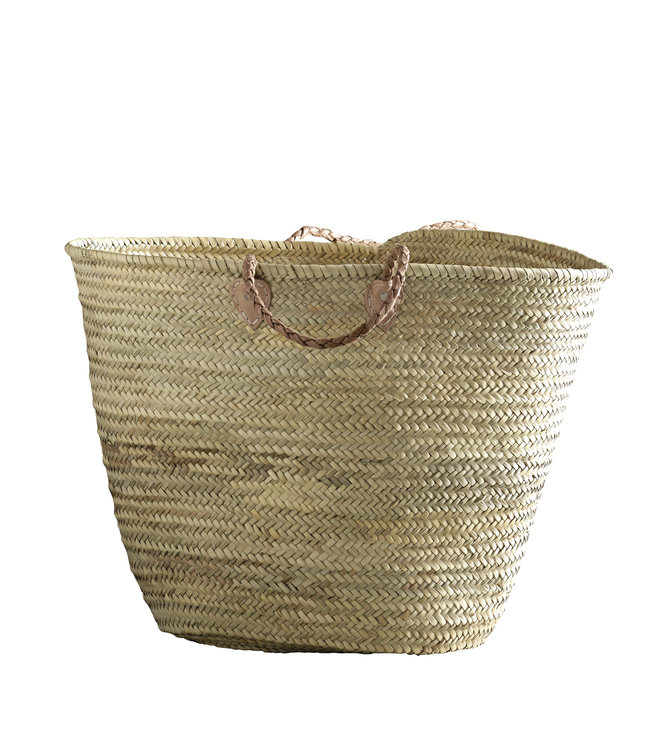 Shopping basket with leather handles XL
