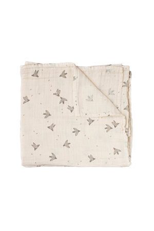 Main Sauvage Muslin swaddle blanket  - pigeons