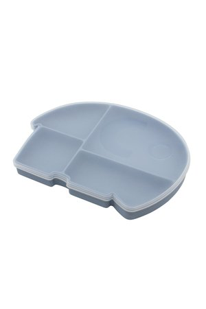 Sebra Silicone plate w/ lid, Fanto the elephant - powder blue