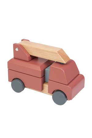 Sebra Wooden fire truck, stacking toy, clay red