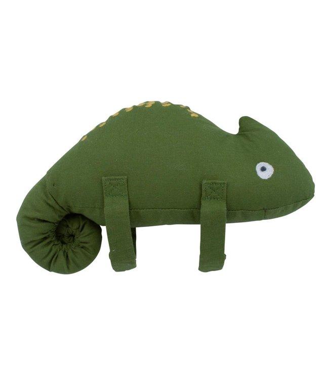 Sebra Musical pull toy, Carley the chameleon - moss green