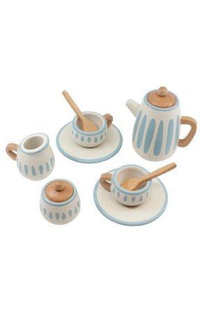 Sebra Wooden tea set -  classic white/dusty teal