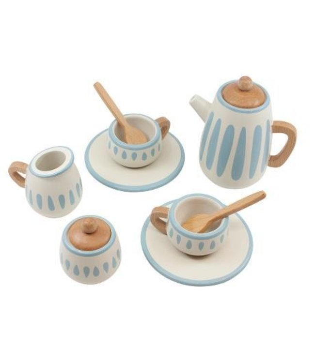 Wooden tea set, classic white/dusty teal