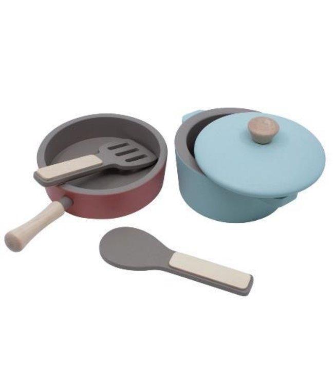 Sebra Wooden kitchen tools set - warm grey