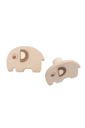 Sebra Wooden wall hooks, 2 pcs - Fanto the elephant