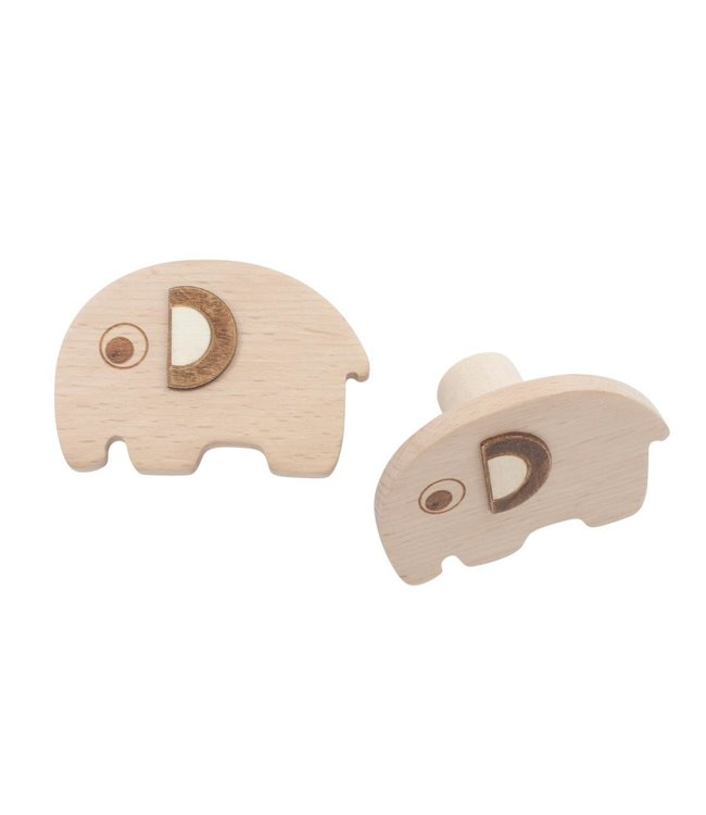 Sebra Wooden wall hooks, 2 pcs - Fanto the elephant