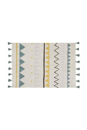 Lorena Canals Azteca naturel-azul tapijt