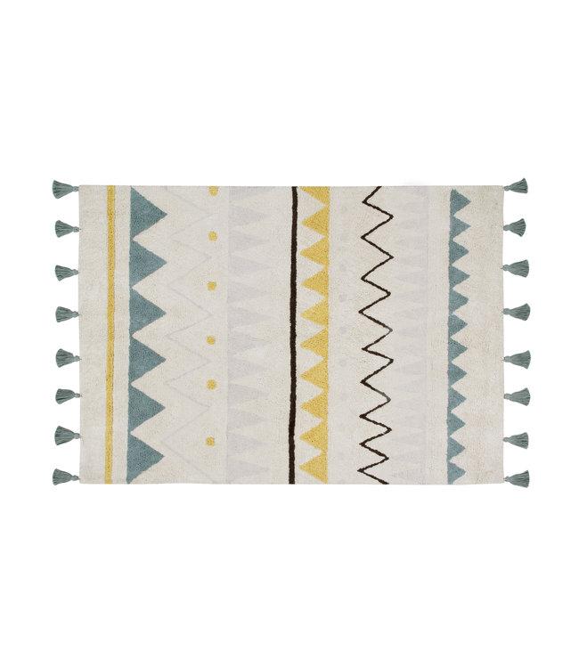 Azteca naturel-azul tapijt