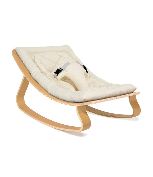 Levo beech wood baby bouncer - Organic white seat