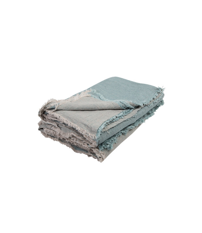 Throw vice versa fringed, crumpled washed linen - aqua/givré