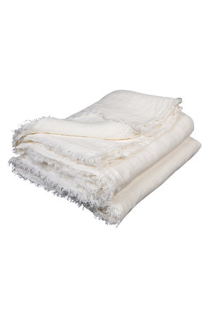 Maison de Vacances Plaid gekreukt gewassen linnen - blanc/ecru