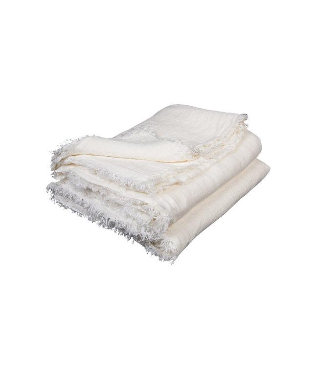 Plaid vice versa met franjes, gekreukt gewassen linnen - blanc/ecru