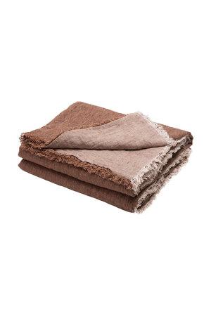Maison de Vacances Plaid vice versa gekreukt gewassen linnen - blush/givré