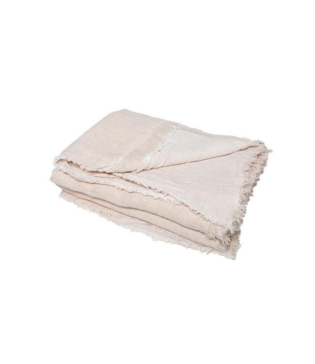 Throw vice versa fringed, crumpled washed linen - crême/givré