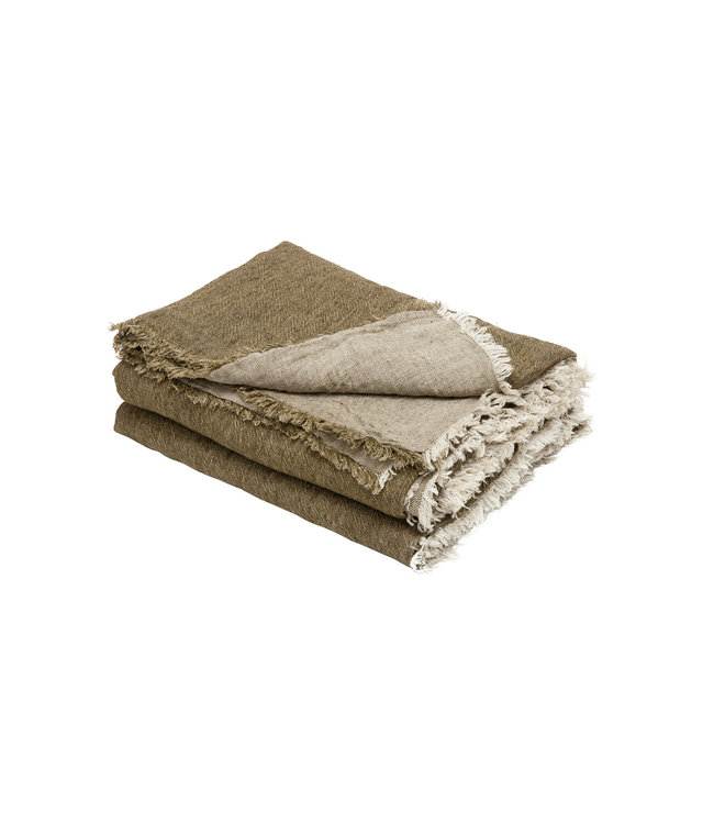 Throw vice versa fringed, crumpled washed linen  - kaki/givré