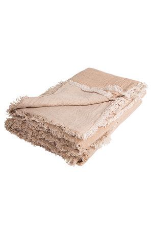 Maison de Vacances Plaid vice versa gekreukt gewassen linnen - nude/givré