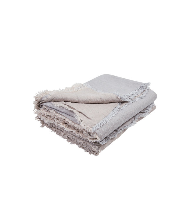 Throw vice versa fringed, crumpled washed linen - perle/givré