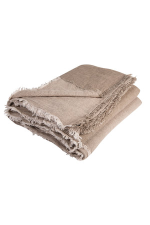 Maison de Vacances Plaid crumpled washed linen - taupe/ciment
