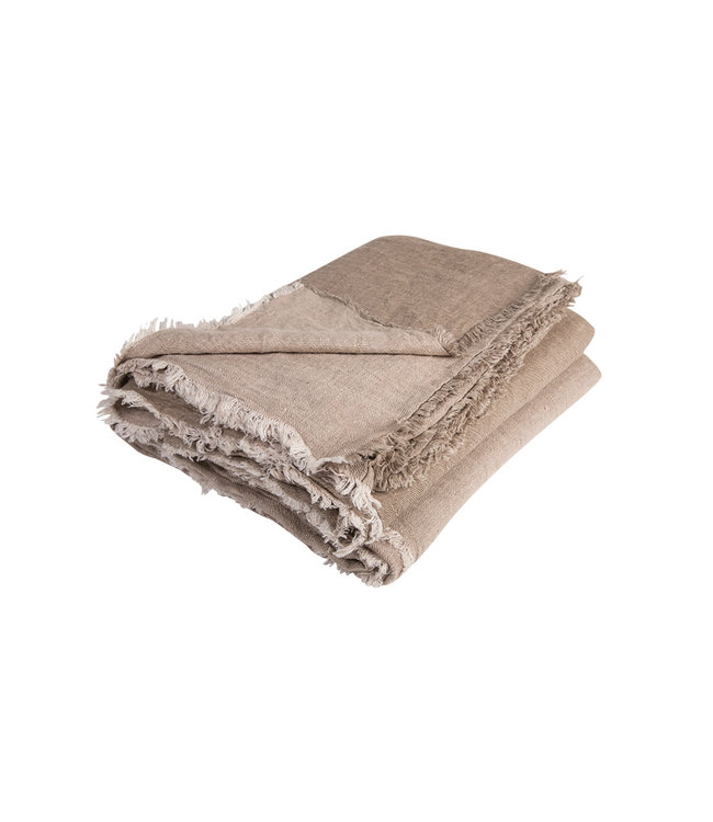 Throw vice versa fringed, crumpled washed linen - taupe/ciment