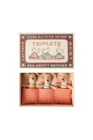 Maileg Baby mice, triplets in matchbox