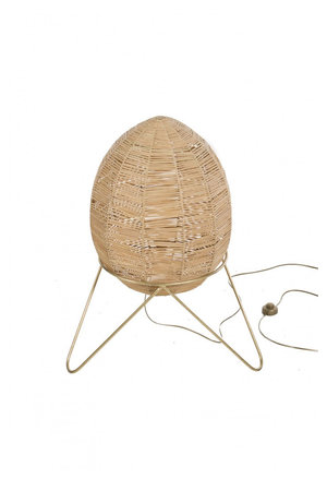 Egg lamp in braided raffia