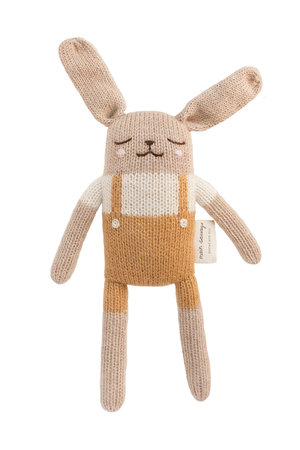 Main Sauvage Bunny soft toy - mustard overalls
